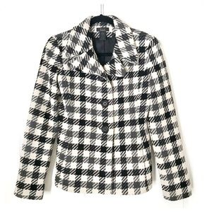 Frenchi Button Wool Blend  Plaid Lined Blazer